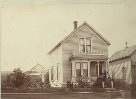 G.A. and Anna's first home in 1518 G St, Tacoma, with Gustaf's sisters Emma and Ida