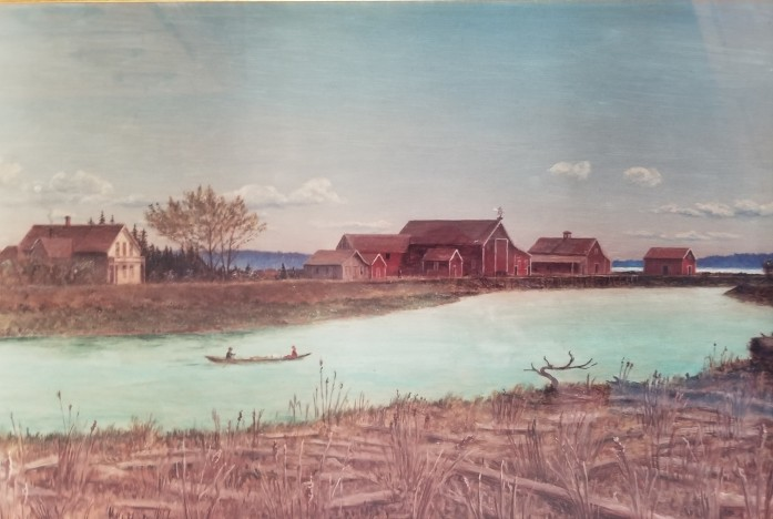 Brown slough farm painting