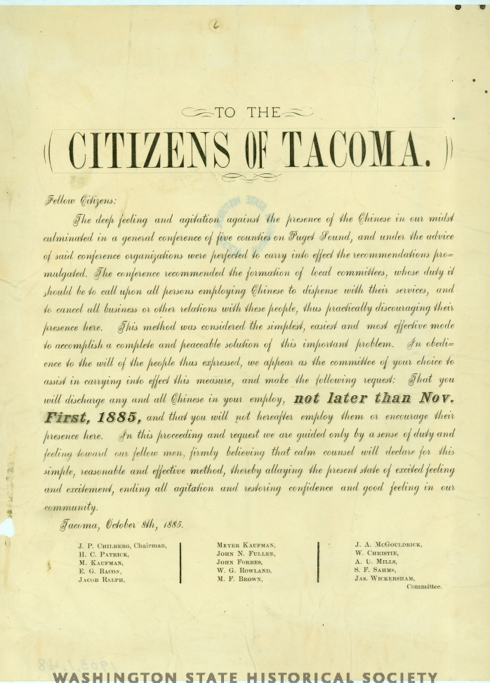 to the citizens of tacoma